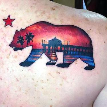 California State Bear Beach Sunset Tattoo