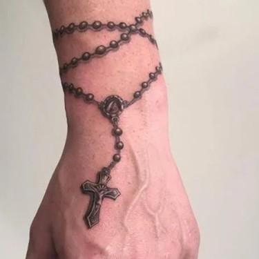 3D Wrist Cross Tattoo
