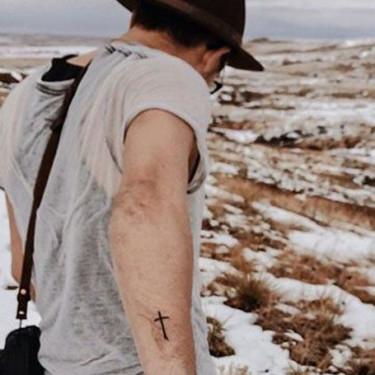 Simple Cross Forearm Tattoo
