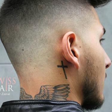 Cross Behind Ear Tattoo