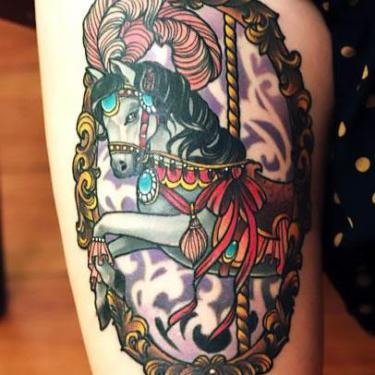 Carousel Cute Horse Tattoo