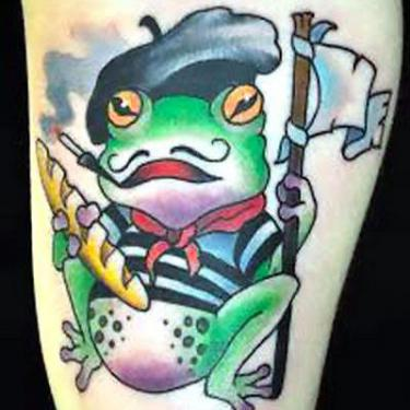Cartoon French Frog Tattoo