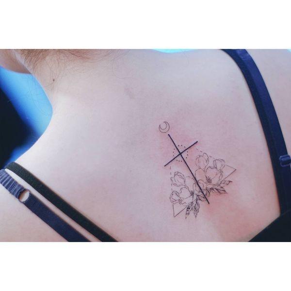 Linework Cross Cherry Blossom Tattoo Idea