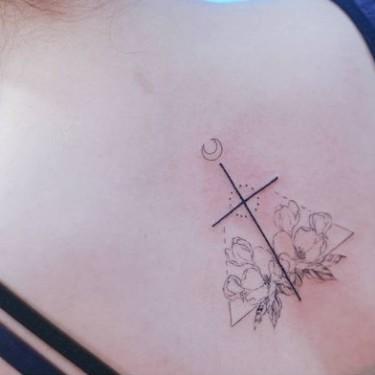Linework Cross Cherry Blossom Tattoo