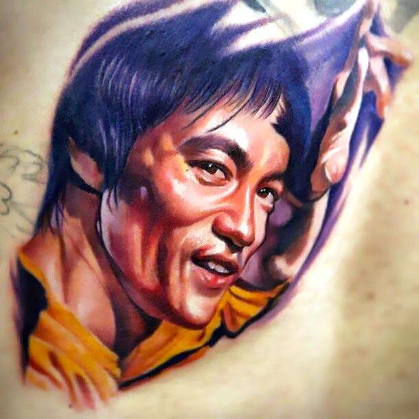 Bruce Lee Portrait Tattoo Idea