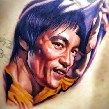 Bruce Lee Portrait Tattoo