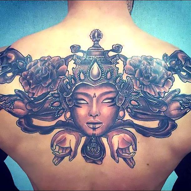 Buddha on Upper Back Tattoo Idea