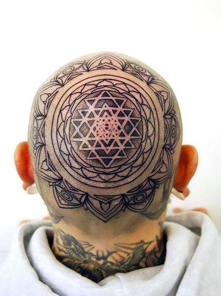 Buddhist Mandala on Head Tattoo Idea