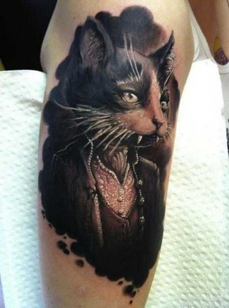 Vampire Cat Tattoo Idea