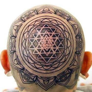 Buddhist Mandala on Head Tattoo