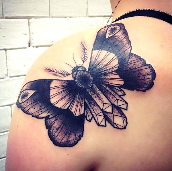 Butterfly on Back Shoulder Tattoo Idea