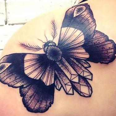 Butterfly on Back Shoulder Tattoo