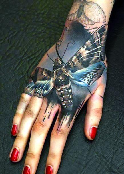 Moth on Hand and Wrist Tattoo Idea