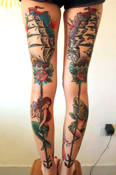 Calf and Thigh Female Tattoo Idea