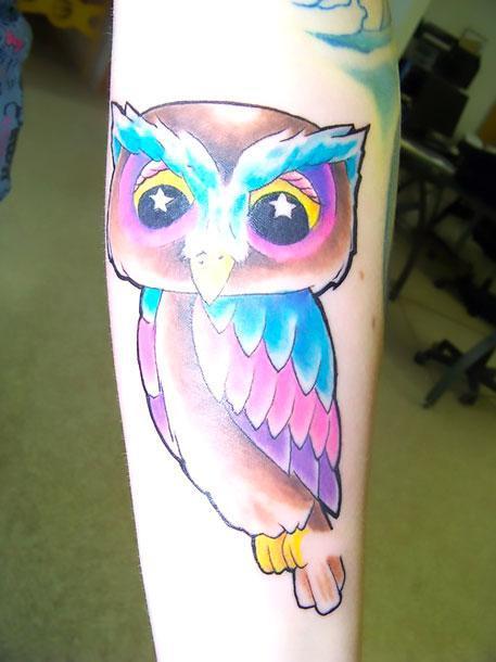 Cartoon Owl Tattoo Idea