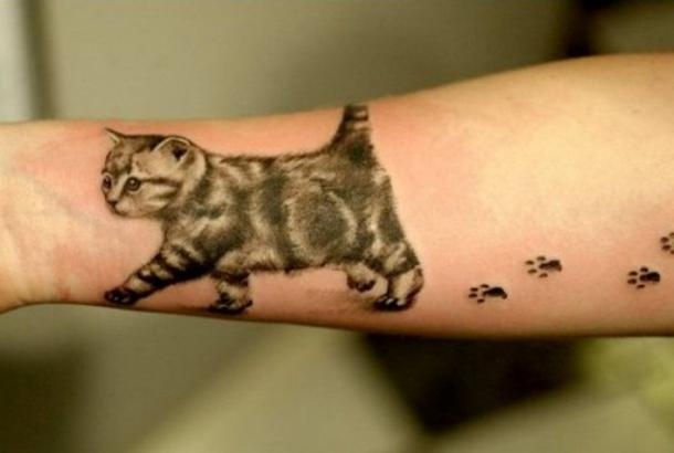 Walking Cat Tattoo Idea