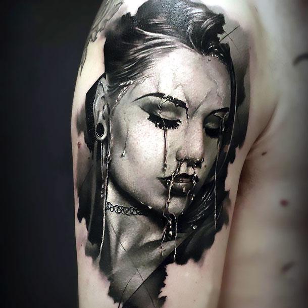 Carvena Fox Portrait Tattoo Idea