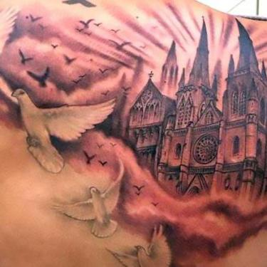 Cathedral and Doves Tattoo