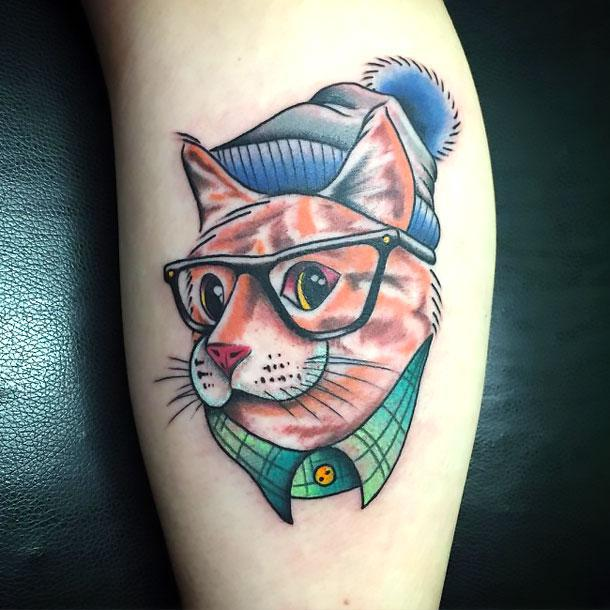 Cat on Calf Tattoo Idea