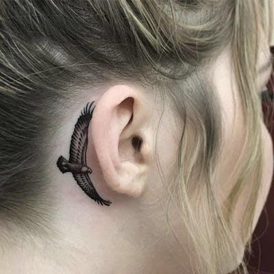 Bird Behind Ear Tattoo Idea
