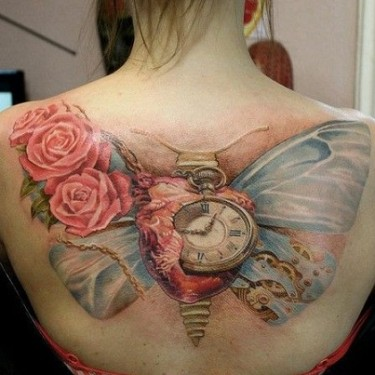 Roses Butterfly Clock Tattoo