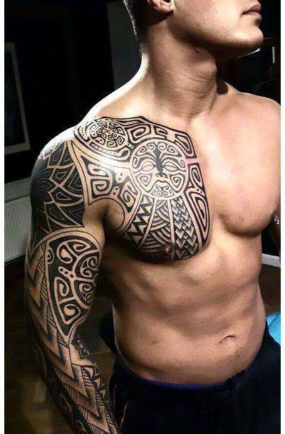 Chest and Shoulder Tattoo Idea