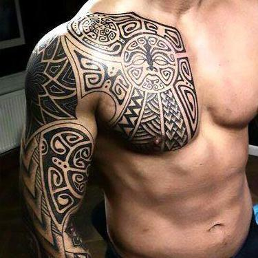 Chest and Shoulder Tattoo