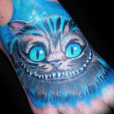 Blue Cheshire Cat Tattoo