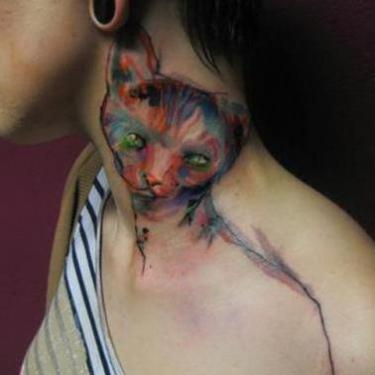 Watercolor Cat on Neck Tattoo