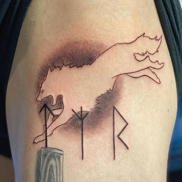 Jumping Wolf Tattoo