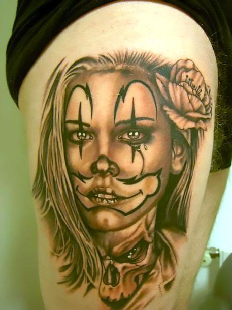 Chicano Girl on Thigh Tattoo Idea