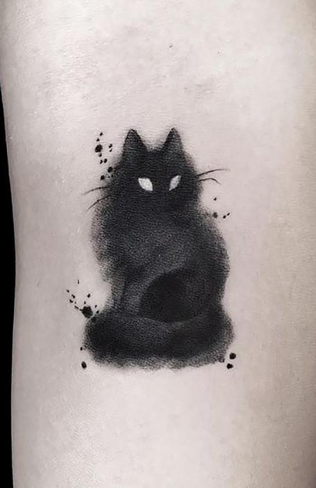 Smoky Black Cat Tattoo Idea