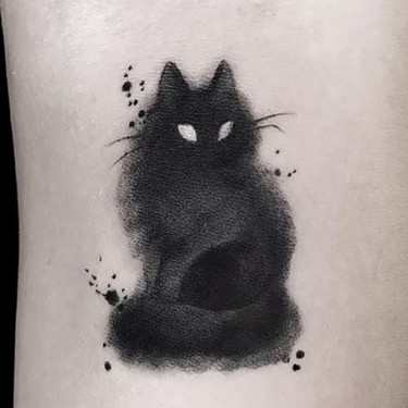 Smoky Black Cat Tattoo