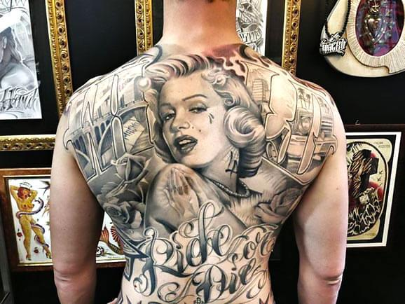 Chicano Marilyn Monroe Tattoo on Back Tattoo Idea