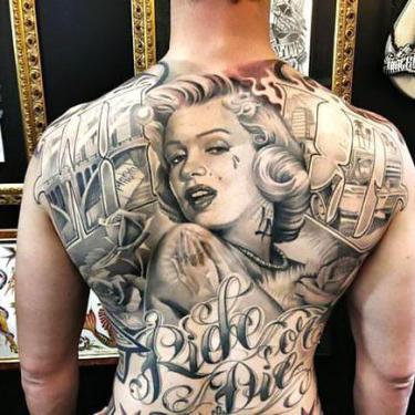 Chicano Marilyn Monroe Tattoo on Back Tattoo