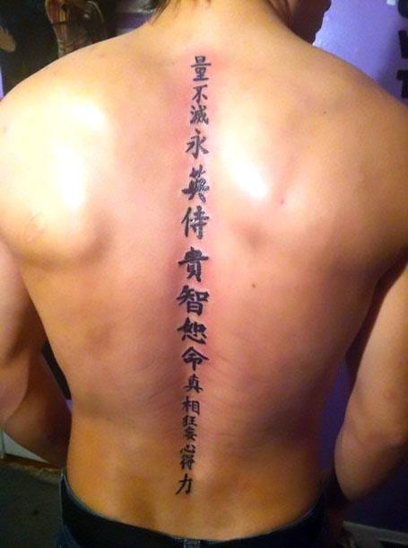 Chinese Spine Men Tattoo Idea
