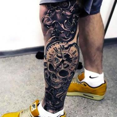 Clock on Leg Tattoo
