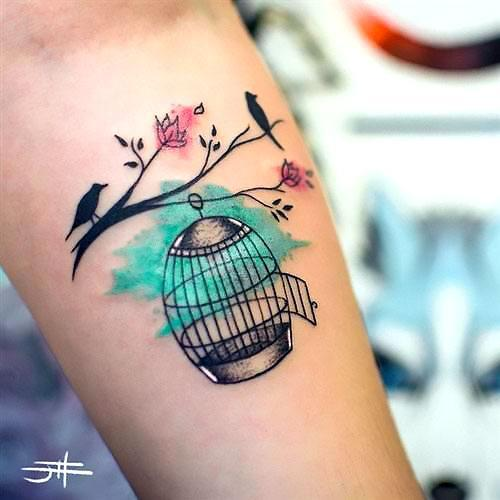 Colorful Birdcage Tattoo Idea