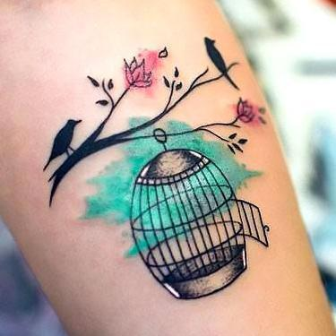 Colorful Birdcage Tattoo