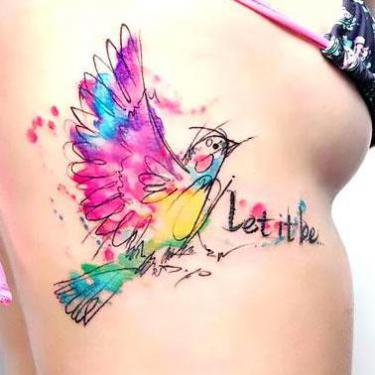 Colorful Bird Let It Be Tattoo