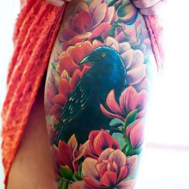 Colorful Blackbird on Thigh Tattoo