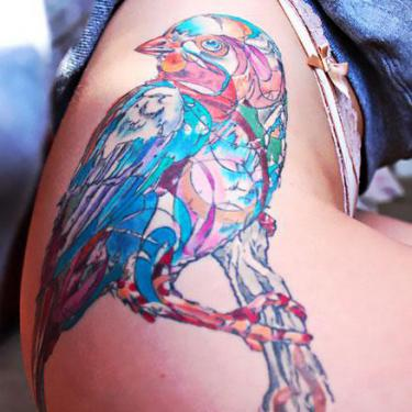 Colorful Bluebird on Thigh Tattoo