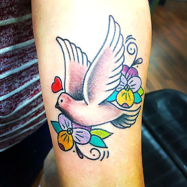 Colorful Dove Tattoo Idea