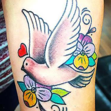 Colorful Dove Tattoo