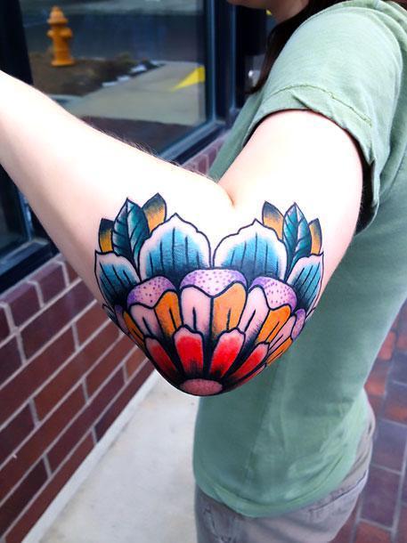 Colorful Elbow Tattoo Idea