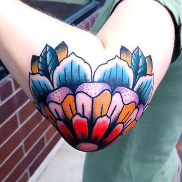 Colorful Elbow Tattoo