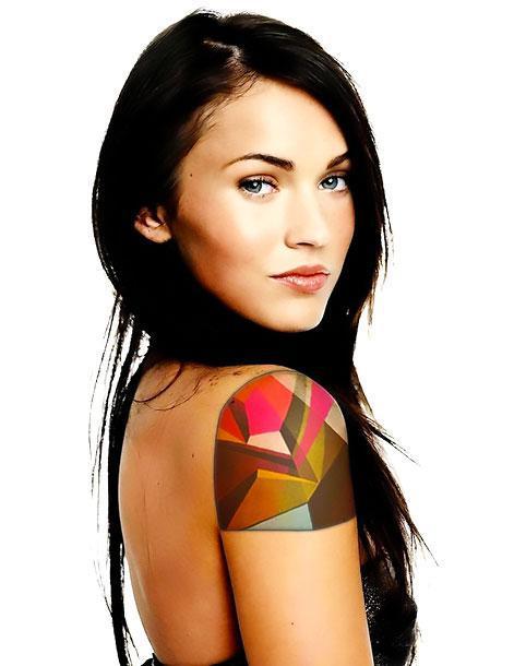 Colorful Geometric Shoulder Tattoo Idea