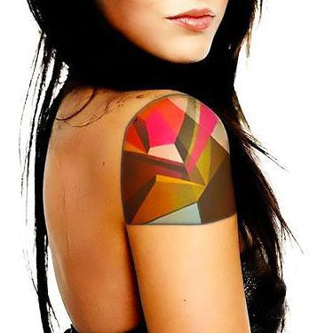 Colorful Geometric Shoulder Tattoo