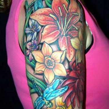 Colorful Lily Half Sleeve Tattoo