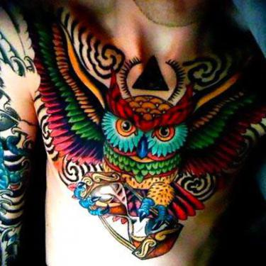 Colorful Owl on Chest Tattoo